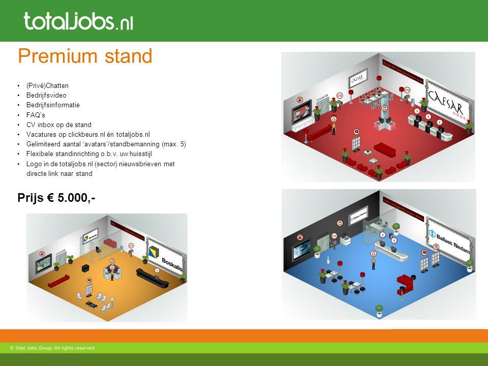 Premium stand (Privé)Chatten Bedrijfsvideo Bedrijfsinformatie FAQ's CV inbox op de stand Vacatures op clickbeurs.nl én totaljobs.nl Gelimiteerd aantal