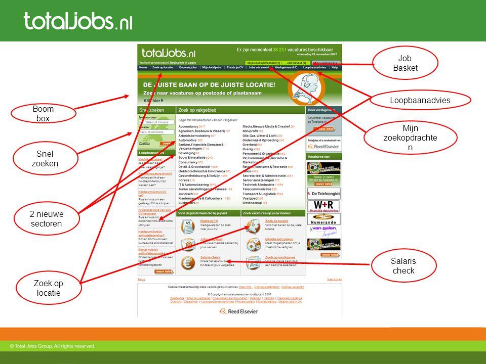 Job Basket Snel zoeken Mijn zoekopdrachte n Loopbaanadvies Boom box 2 nieuwe sectoren Salaris check Zoek op locatie
