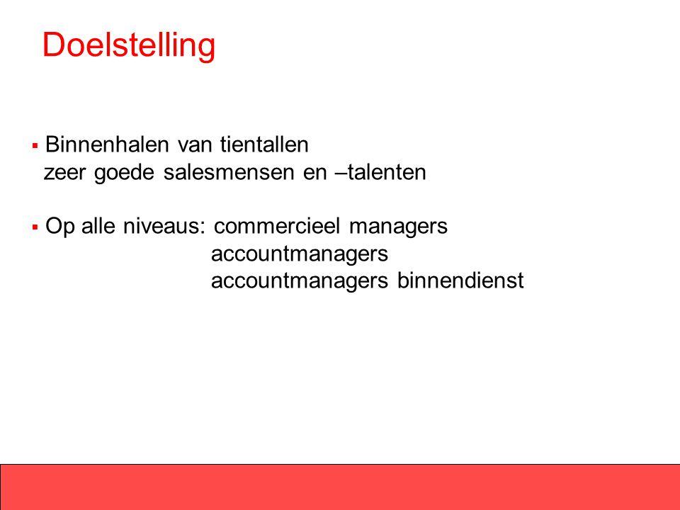 Doelstelling  Binnenhalen van tientallen zeer goede salesmensen en –talenten  Op alle niveaus: commercieel managers accountmanagers accountmanagers