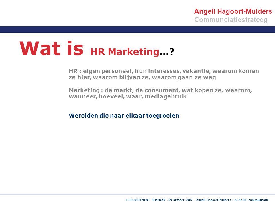 E-RECRUITMENT SEMINAR. 29 oktober 2007. Angeli Hagoort-Mulders. ACA/JES communicatie