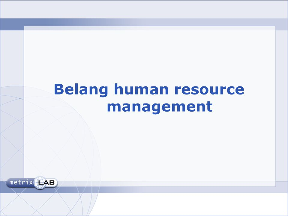 Belang human resource management