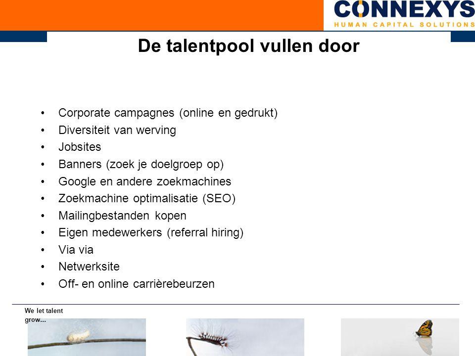 De talentpool vullen door Corporate campagnes (online en gedrukt) Diversiteit van werving Jobsites Banners (zoek je doelgroep op) Google en andere zoe