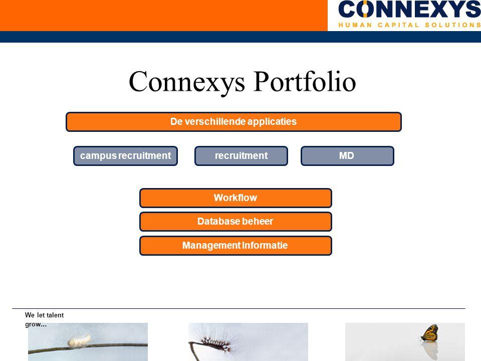 Connexys Portfolio campus recruitment recruitment Workflow Database beheer Management Informatie MD De verschillende applicaties