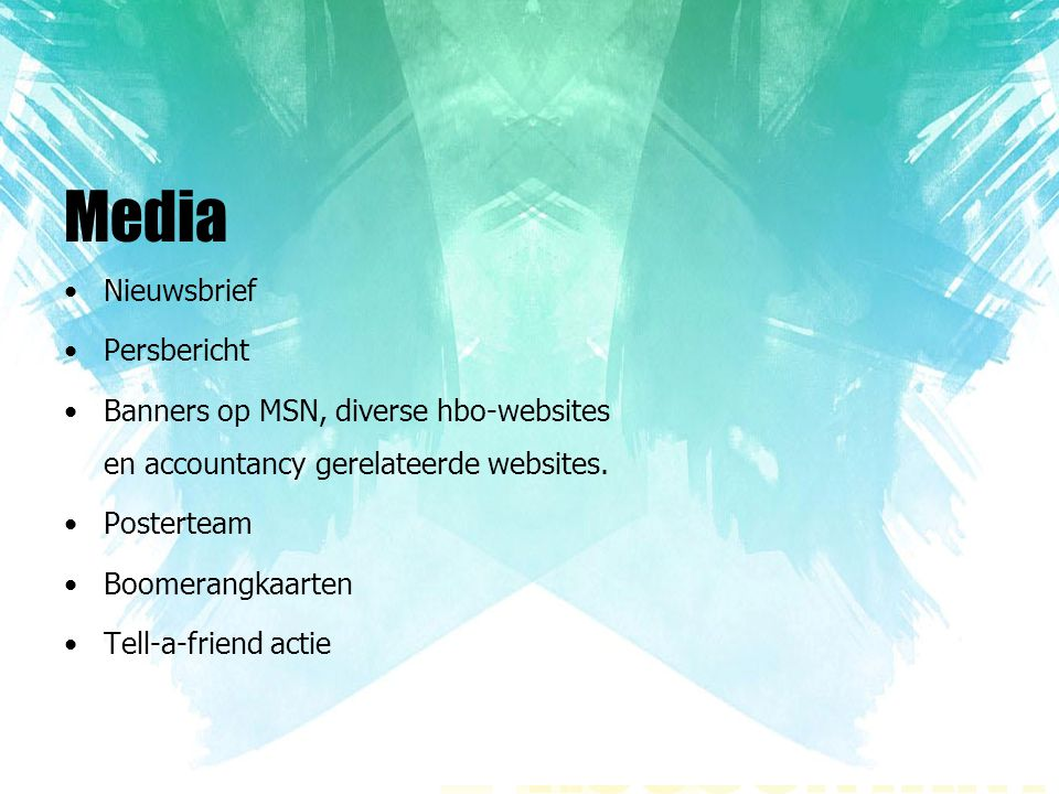Media Nieuwsbrief Persbericht Banners op MSN, diverse hbo-websites en accountancy gerelateerde websites. Posterteam Boomerangkaarten Tell-a-friend act