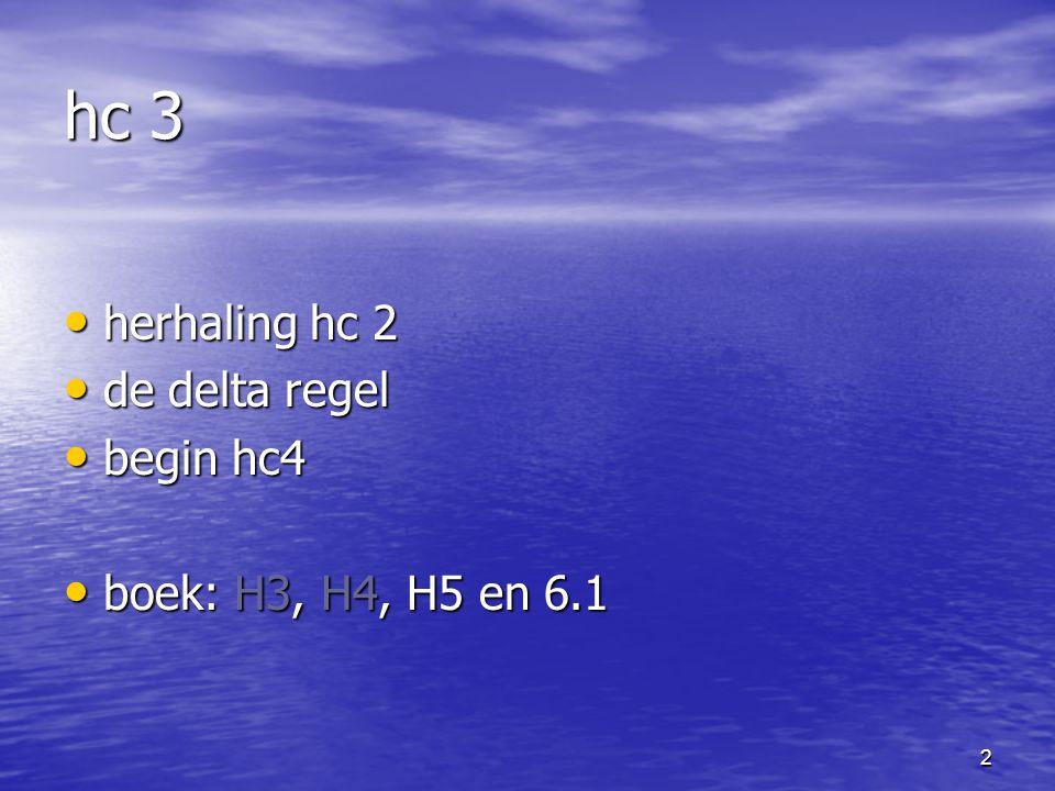2 hc 3 herhaling hc 2 herhaling hc 2 de delta regel de delta regel begin hc4 begin hc4 boek: H3, H4, H5 en 6.1 boek: H3, H4, H5 en 6.1