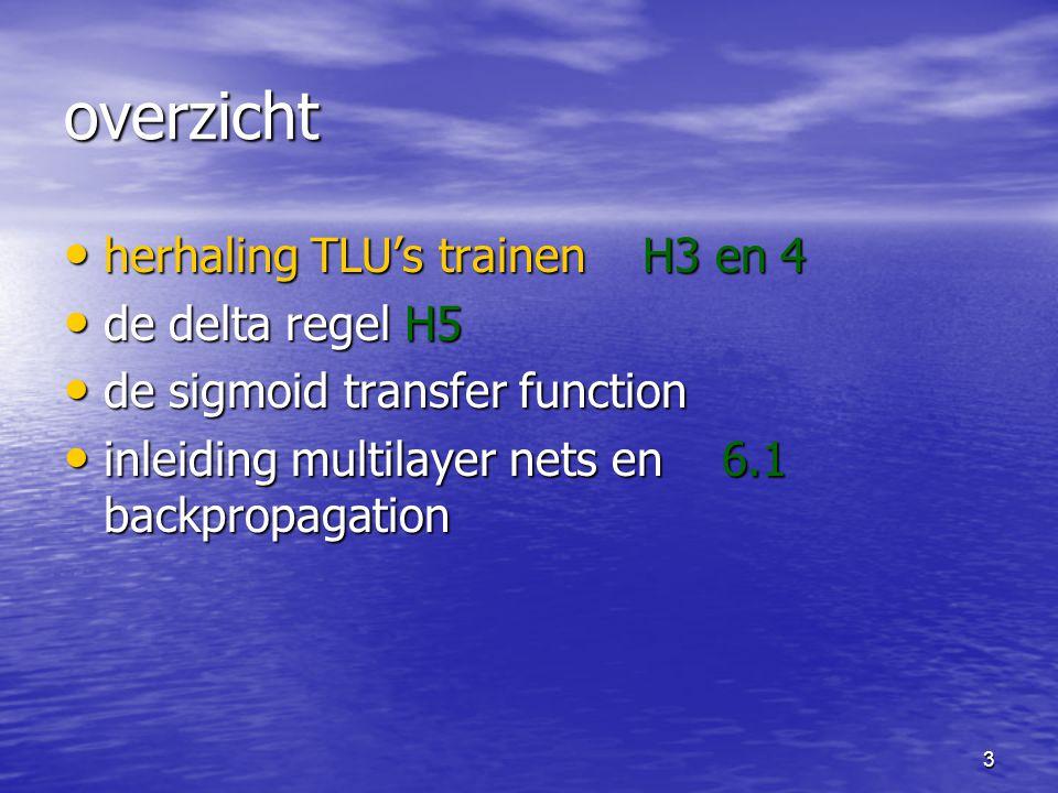 3 overzicht herhaling TLU's trainen H3 en 4 herhaling TLU's trainen H3 en 4 de delta regel H5 de delta regel H5 de sigmoid transfer function de sigmoid transfer function inleiding multilayer nets en 6.1 backpropagation inleiding multilayer nets en 6.1 backpropagation