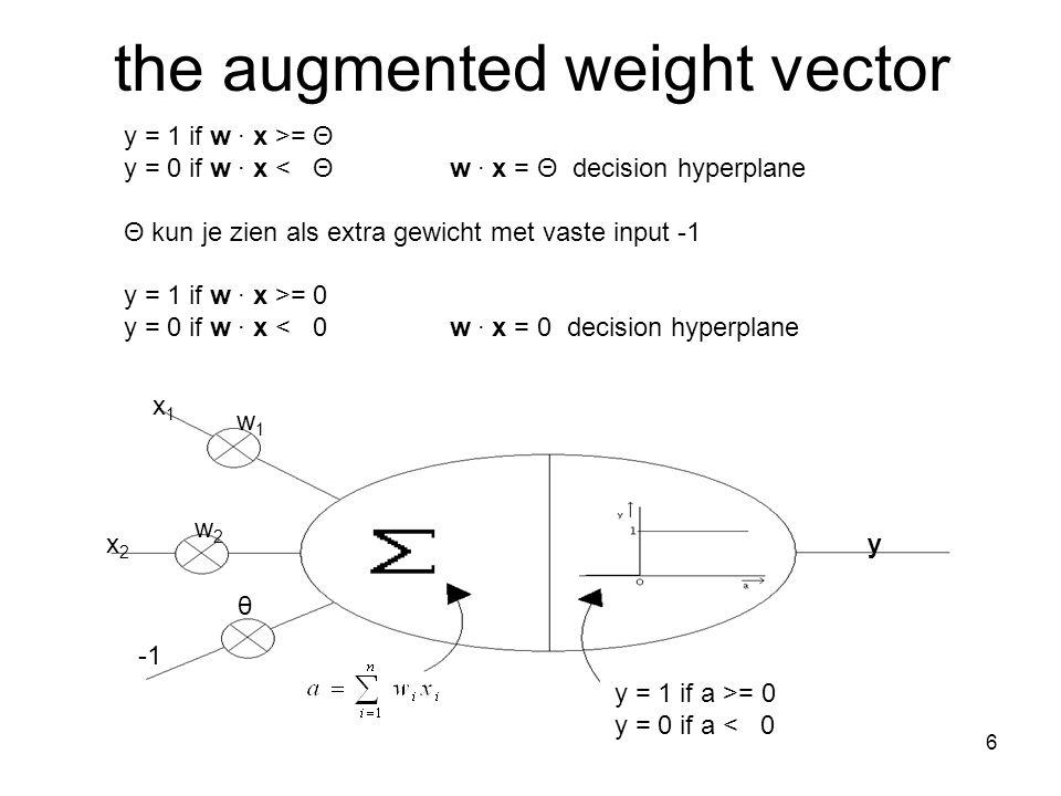 7 w' = w + αvw' = w – αv t y w' = w + α(t – y)v 1 1 1 0 0 1 0 Δw = α(t – y)v vector components i = 1 t/m (n + 1): Δw i = α(t – y)v i w = (w 1, w 2,..., w n, θ) v = (v 1, v 2,..., v n, -1) Perceptron Training Rule