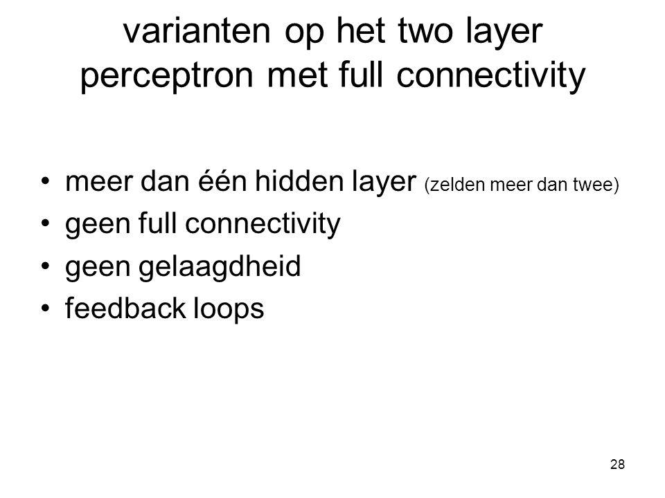 28 varianten op het two layer perceptron met full connectivity meer dan één hidden layer (zelden meer dan twee) geen full connectivity geen gelaagdheid feedback loops