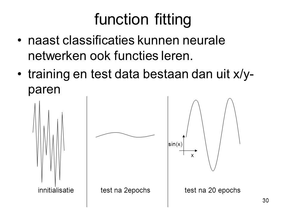 30 function fitting naast classificaties kunnen neurale netwerken ook functies leren.
