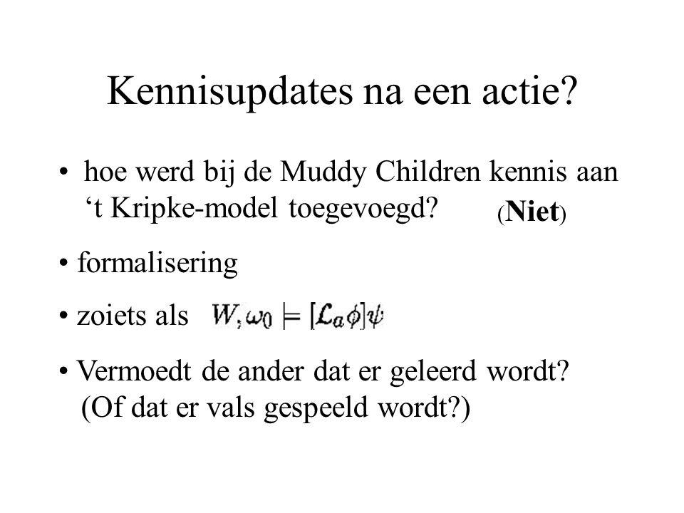 Kennisupdates na een actie. hoe werd bij de Muddy Children kennis aan 't Kripke-model toegevoegd.