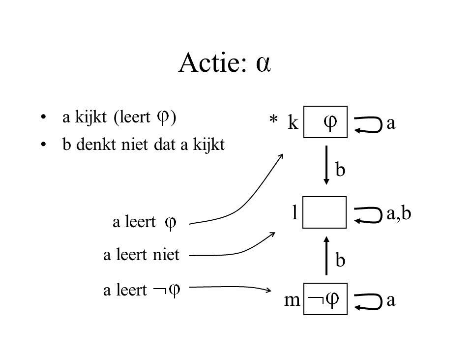 Actie: a kijkt (leert ) b denkt niet dat a kijkt k m l a a,b a b b * a leert a leert niet a leert