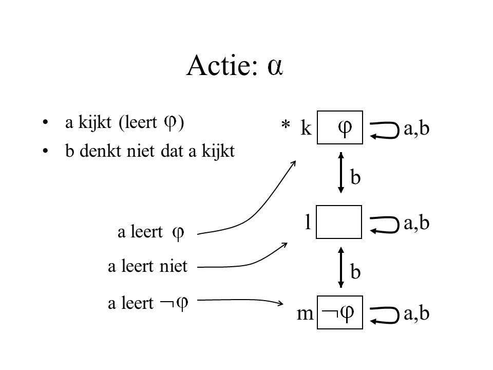 Actie: a kijkt (leert ) b denkt niet dat a kijkt k m l a a,b a b b * a leert a leert niet a leert,b