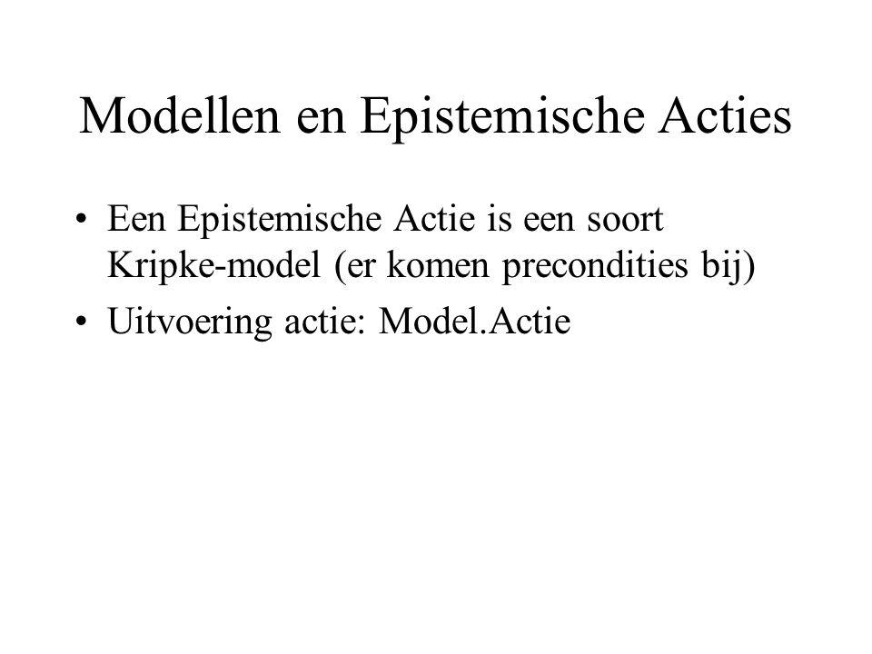 Modellen en Epistemische Acties Een Epistemische Actie is een soort Kripke-model (er komen precondities bij) Uitvoering actie: Model.Actie