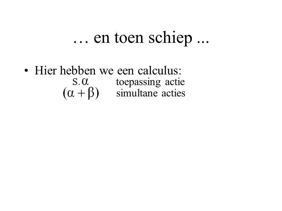 … en toen schiep... Hier hebben we een calculus: toepassing actie simultane acties