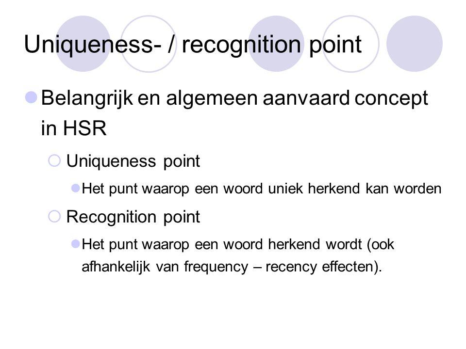 Uniqueness- / recognition point Belangrijk en algemeen aanvaard concept in HSR  Uniqueness point Het punt waarop een woord uniek herkend kan worden  Recognition point Het punt waarop een woord herkend wordt (ook afhankelijk van frequency – recency effecten).