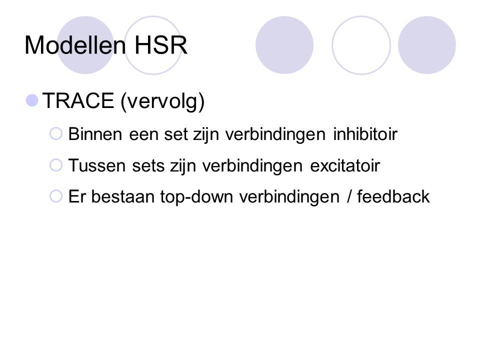 Modellen HSR TRACE (vervolg)  Binnen een set zijn verbindingen inhibitoir  Tussen sets zijn verbindingen excitatoir  Er bestaan top-down verbindingen / feedback