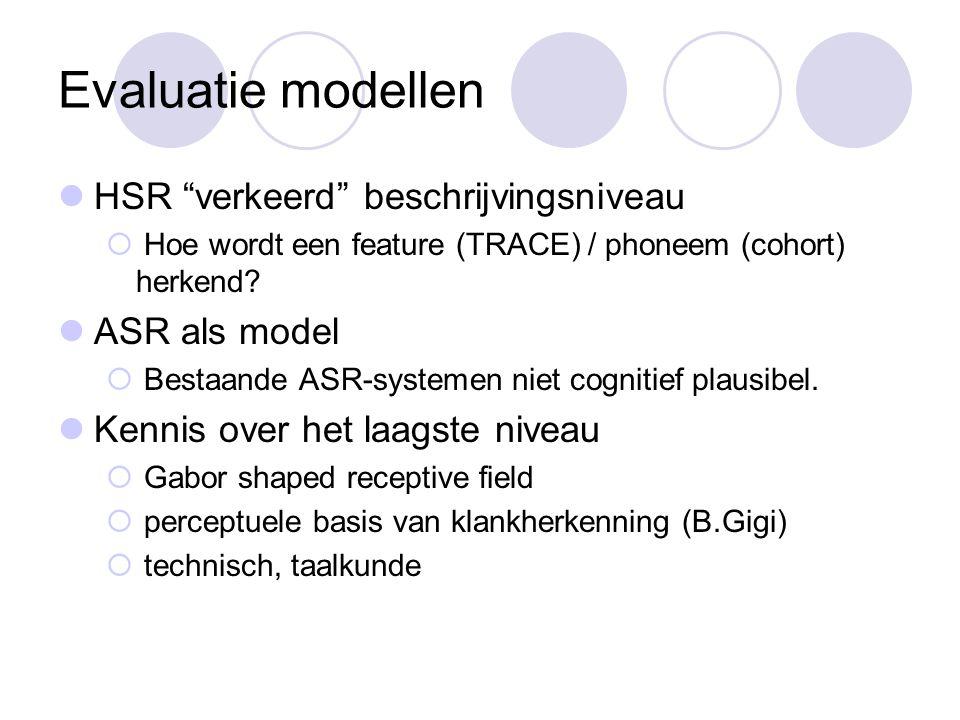 Evaluatie modellen HSR verkeerd beschrijvingsniveau  Hoe wordt een feature (TRACE) / phoneem (cohort) herkend.