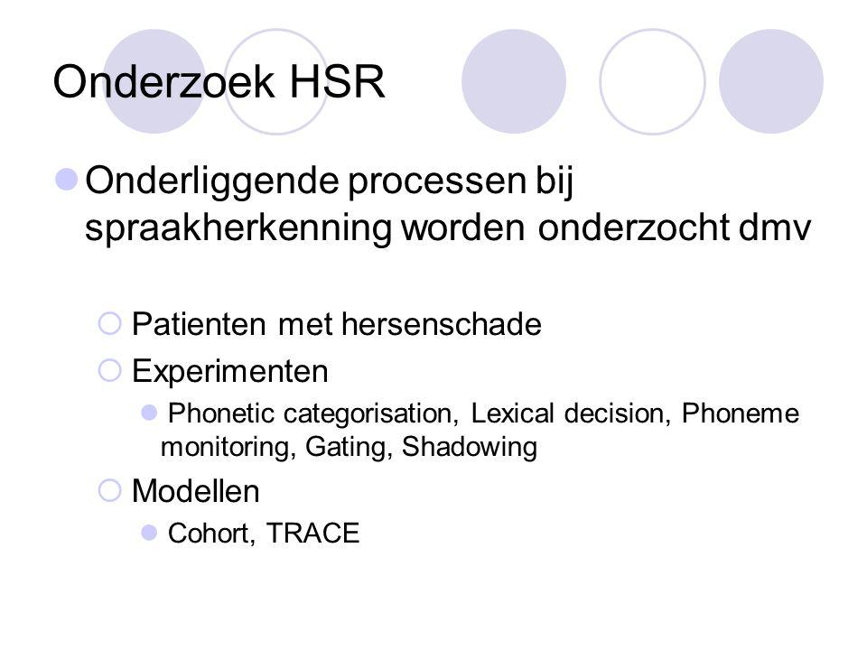 Onderzoek HSR Onderliggende processen bij spraakherkenning worden onderzocht dmv  Patienten met hersenschade  Experimenten Phonetic categorisation, Lexical decision, Phoneme monitoring, Gating, Shadowing  Modellen Cohort, TRACE