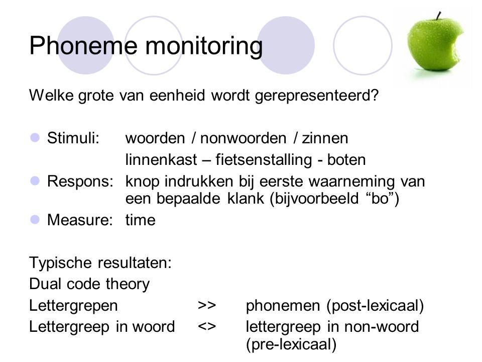 Phoneme monitoring Welke grote van eenheid wordt gerepresenteerd.