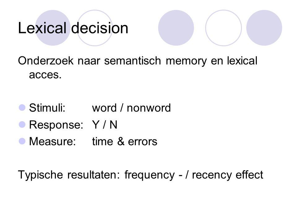 Lexical decision Onderzoek naar semantisch memory en lexical acces.