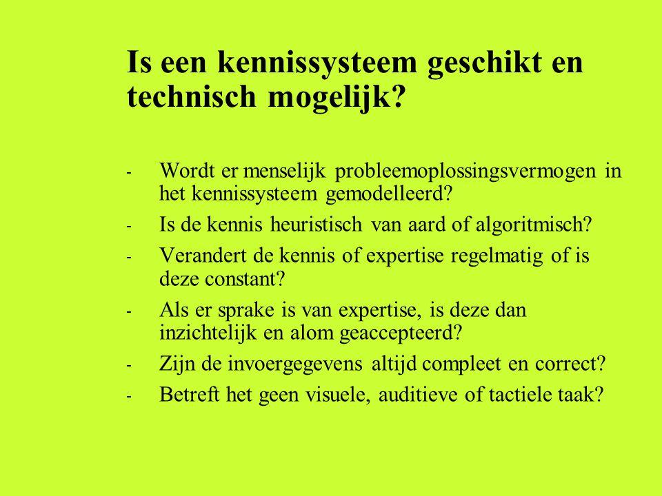 Is een kennissysteem geschikt en technisch mogelijk? - Wordt er menselijk probleemoplossingsvermogen in het kennissysteem gemodelleerd? - Is de kennis