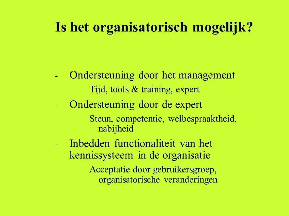 Is het organisatorisch mogelijk? - Ondersteuning door het management Tijd, tools & training, expert - Ondersteuning door de expert Steun, competentie,
