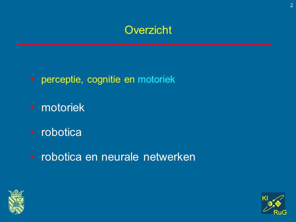 KI RuG 2 Overzicht  perceptie, cognitie en motoriek motoriek robotica robotica en neurale netwerken