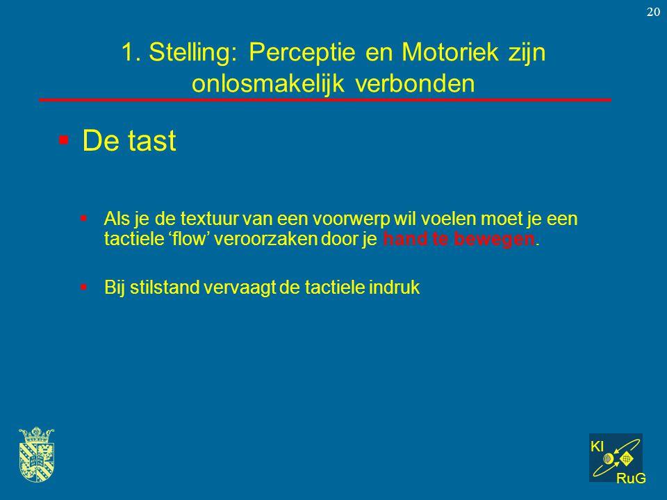 KI RuG 20 1. Stelling: Perceptie en Motoriek zijn onlosmakelijk verbonden  Als je de textuur van een voorwerp wil voelen moet je een tactiele 'flow'