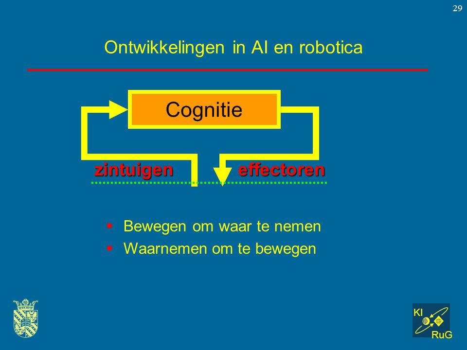 KI RuG 29 Ontwikkelingen in AI en robotica  Bewegen om waar te nemen  Waarnemen om te bewegen Cognitie zintuigeneffectoren