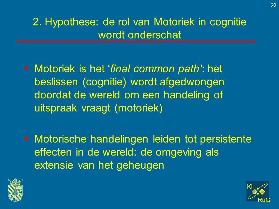KI RuG 30  Motoriek is het 'final common path': het beslissen (cognitie) wordt afgedwongen doordat de wereld om een handeling of uitspraak vraagt (mo