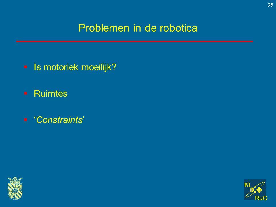 KI RuG 35 Problemen in de robotica  Is motoriek moeilijk?  Ruimtes  'Constraints'