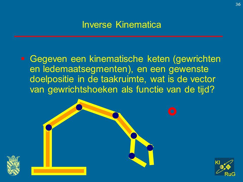 KI RuG 36 Inverse Kinematica  Gegeven een kinematische keten (gewrichten en ledemaatsegmenten), en een gewenste doelpositie in de taakruimte, wat is