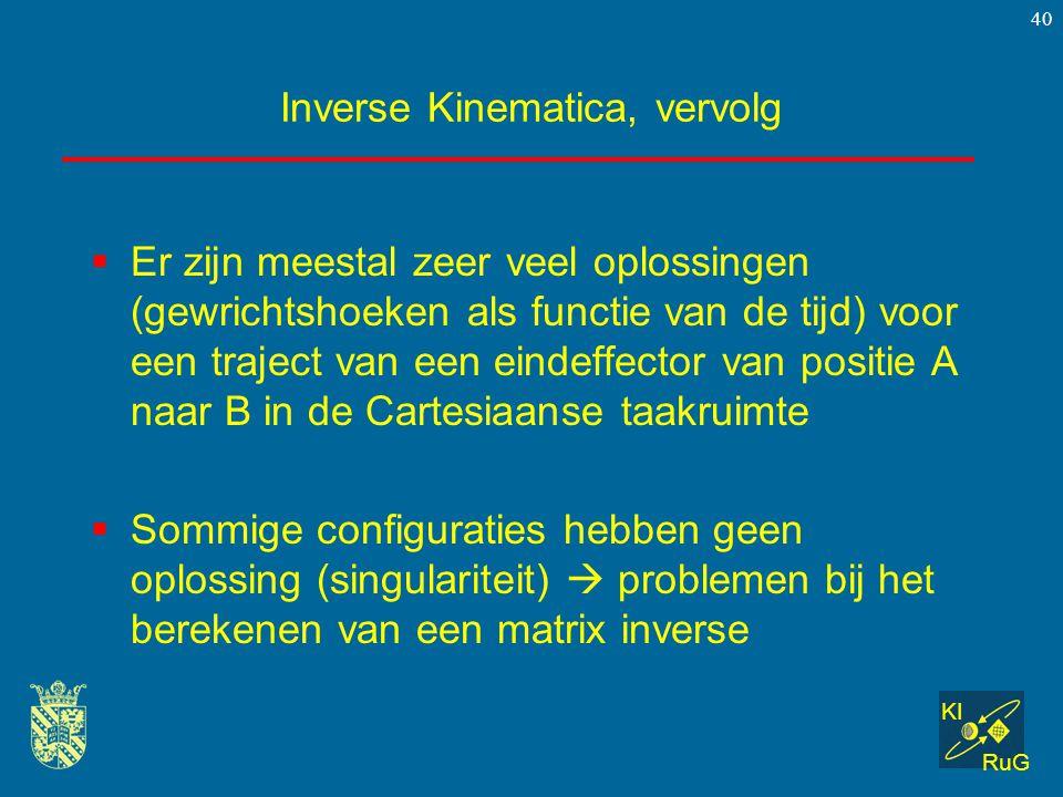 KI RuG 40 Inverse Kinematica, vervolg  Er zijn meestal zeer veel oplossingen (gewrichtshoeken als functie van de tijd) voor een traject van een einde