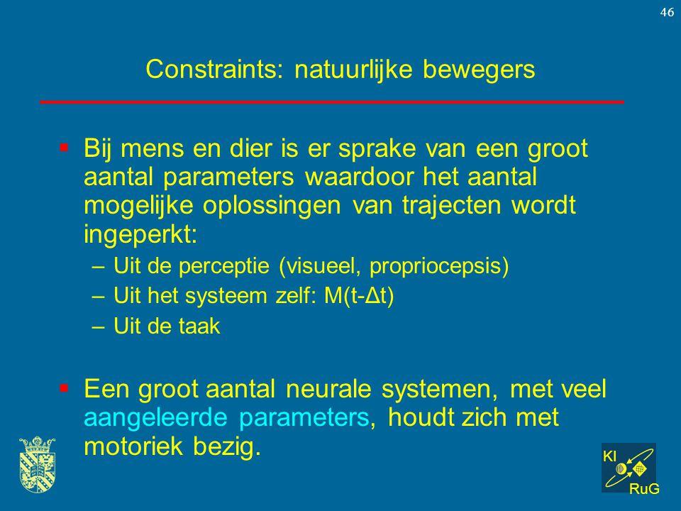 KI RuG 46 Constraints: natuurlijke bewegers  Bij mens en dier is er sprake van een groot aantal parameters waardoor het aantal mogelijke oplossingen