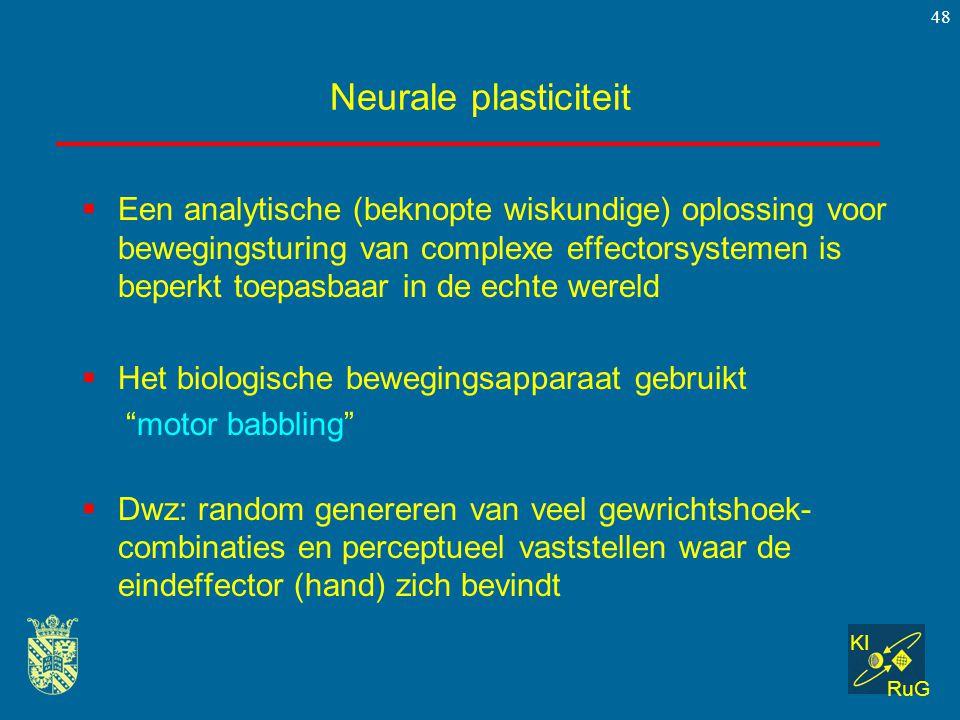 KI RuG 48 Neurale plasticiteit  Een analytische (beknopte wiskundige) oplossing voor bewegingsturing van complexe effectorsystemen is beperkt toepasb