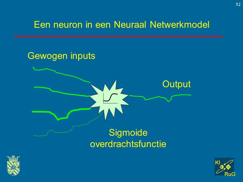 KI RuG 52 Een neuron in een Neuraal Netwerkmodel Gewogen inputs Sigmoide overdrachtsfunctie Output