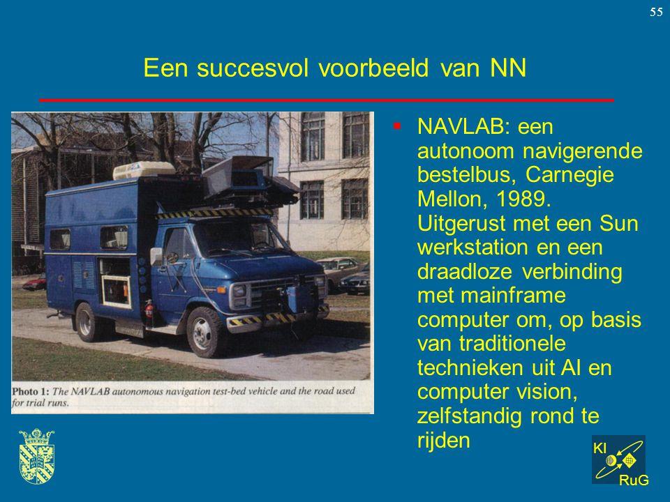 KI RuG 55 Een succesvol voorbeeld van NN  NAVLAB: een autonoom navigerende bestelbus, Carnegie Mellon, 1989. Uitgerust met een Sun werkstation en een