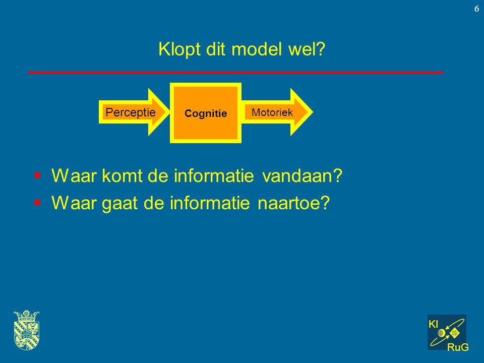 KI RuG 6 Klopt dit model wel?  Waar komt de informatie vandaan?  Waar gaat de informatie naartoe? Cognitie Perceptie Motoriek
