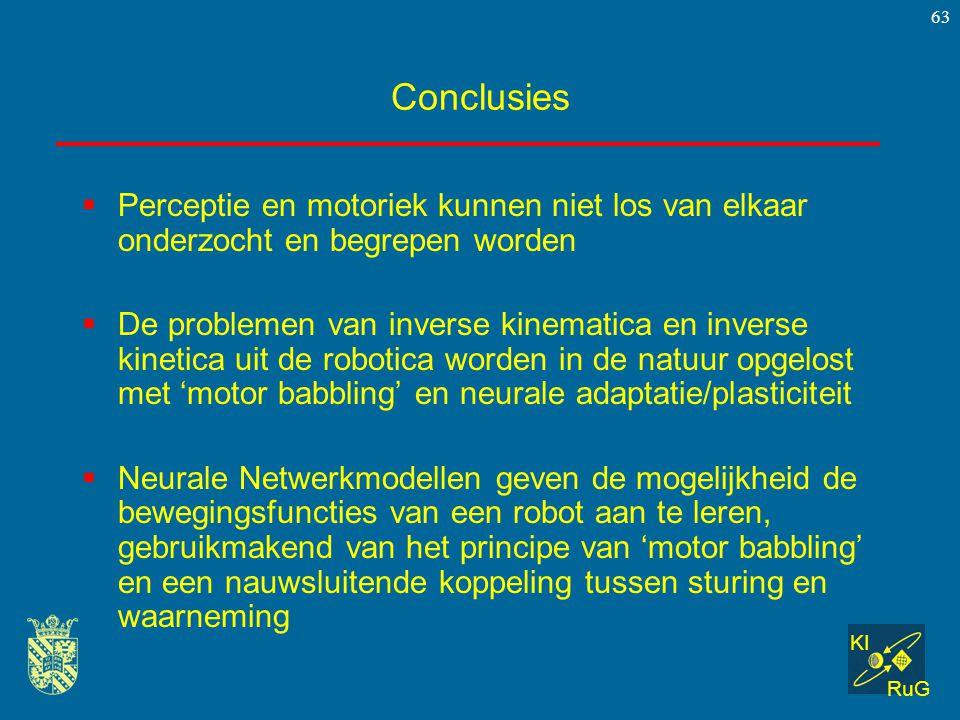 KI RuG 63 Conclusies  Perceptie en motoriek kunnen niet los van elkaar onderzocht en begrepen worden  De problemen van inverse kinematica en inverse
