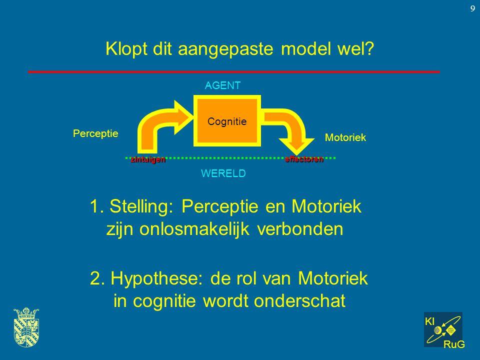 KI RuG 9 Klopt dit aangepaste model wel? Cognitie Perceptie Motoriek WERELD AGENT zintuigen effectoren 1. Stelling: Perceptie en Motoriek zijn onlosma