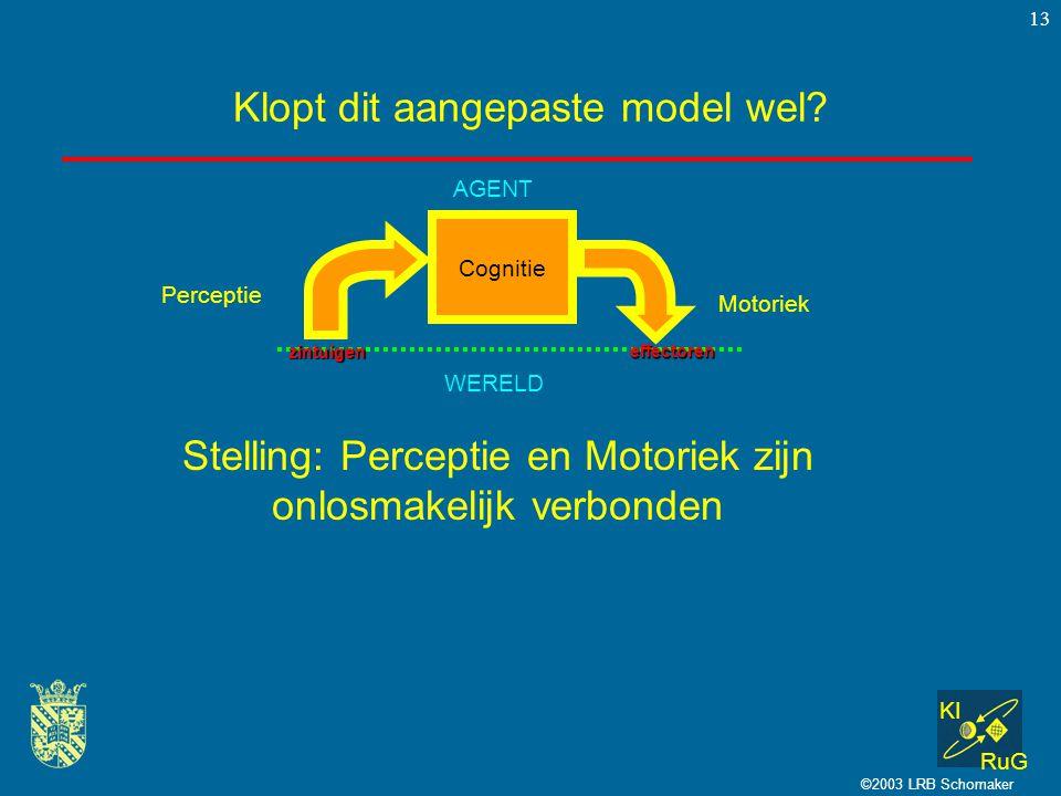 KI RuG ©2003 LRB Schomaker 13 Klopt dit aangepaste model wel? Cognitie Perceptie Motoriek WERELD AGENT zintuigen effectoren Stelling: Perceptie en Mot