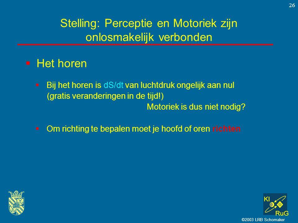 KI RuG ©2003 LRB Schomaker 26  Het horen Stelling: Perceptie en Motoriek zijn onlosmakelijk verbonden  Bij het horen is dS/dt van luchtdruk ongelijk