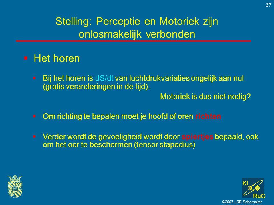 KI RuG ©2003 LRB Schomaker 27  Het horen Stelling: Perceptie en Motoriek zijn onlosmakelijk verbonden  Bij het horen is dS/dt van luchtdrukvariaties