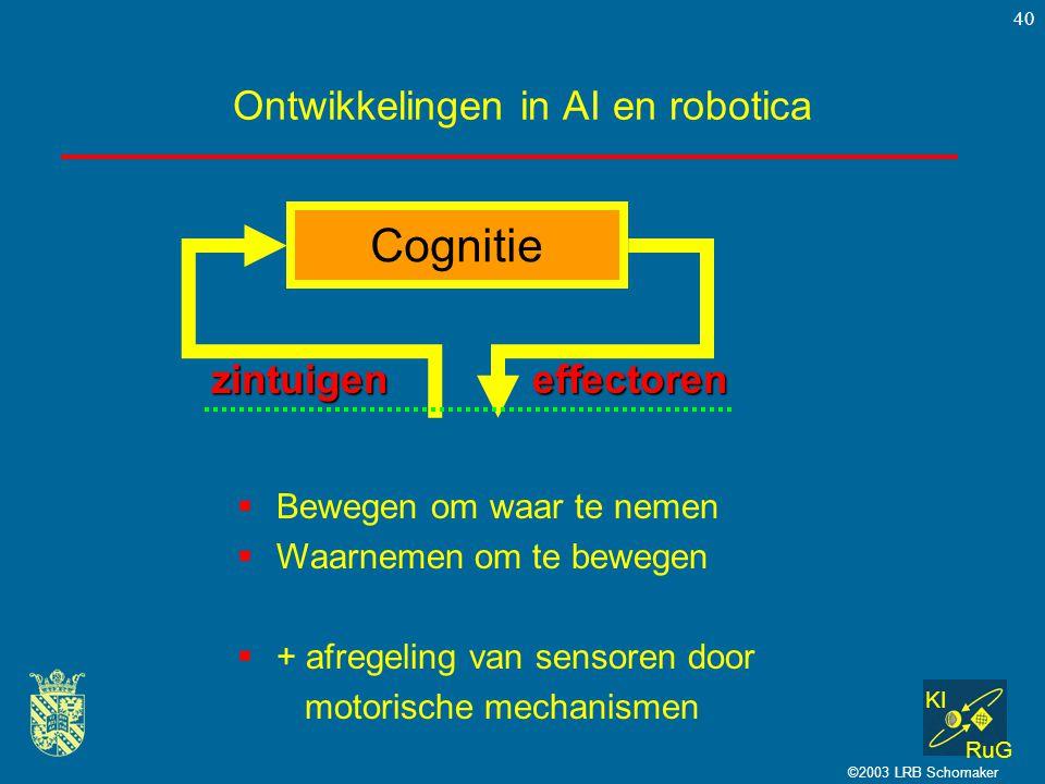 KI RuG ©2003 LRB Schomaker 40 Ontwikkelingen in AI en robotica  Bewegen om waar te nemen  Waarnemen om te bewegen  + afregeling van sensoren door m