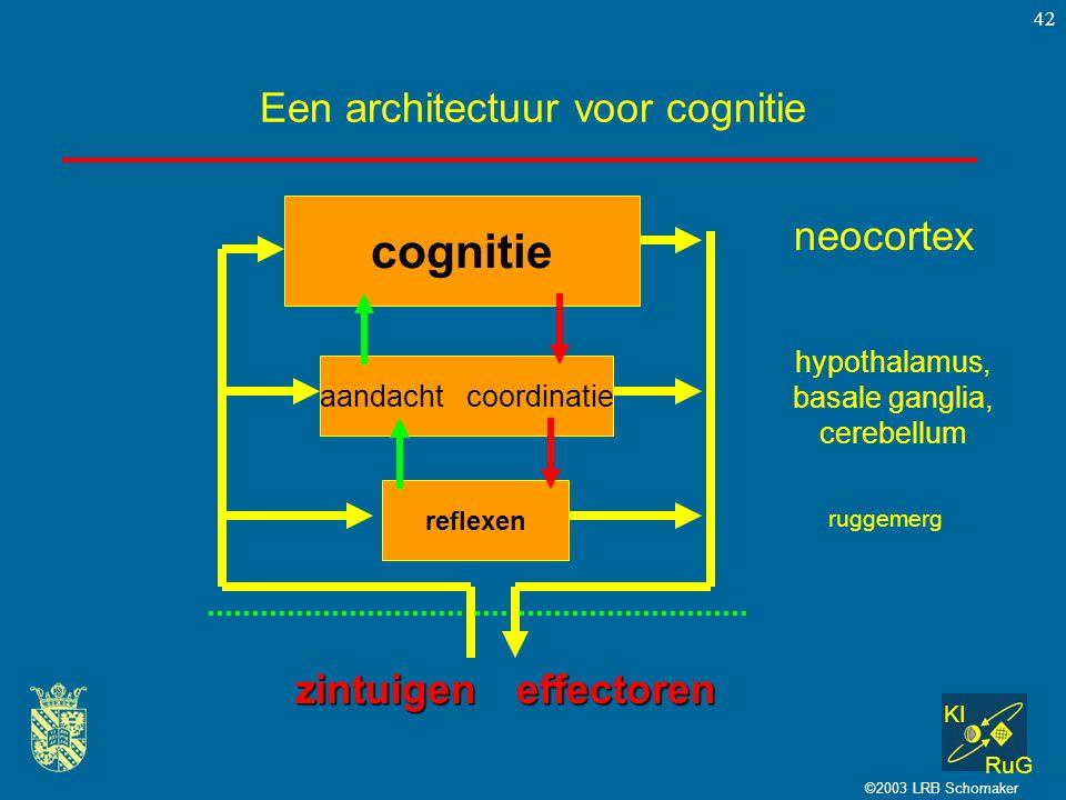 KI RuG ©2003 LRB Schomaker 42 Een architectuur voor cognitie cognitie zintuigeneffectoren aandacht coordinatie reflexen neocortex hypothalamus, basale
