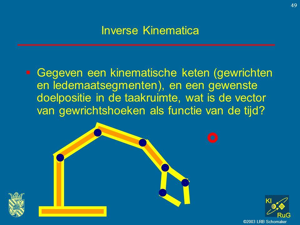 KI RuG ©2003 LRB Schomaker 49 Inverse Kinematica  Gegeven een kinematische keten (gewrichten en ledemaatsegmenten), en een gewenste doelpositie in de