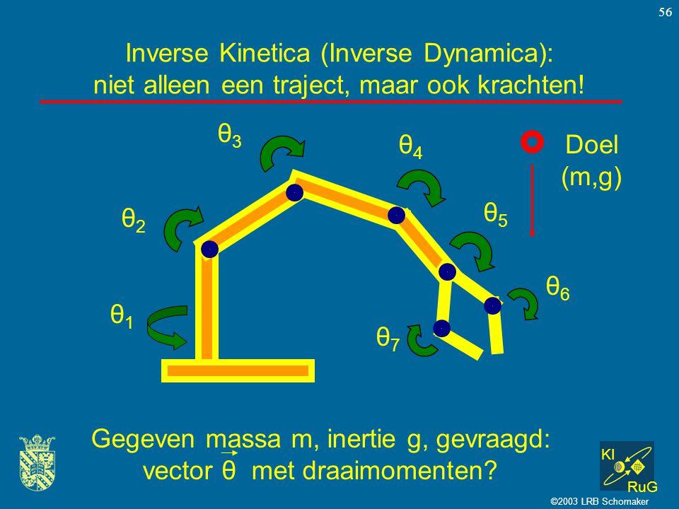 KI RuG ©2003 LRB Schomaker 56 Inverse Kinetica (Inverse Dynamica): niet alleen een traject, maar ook krachten! θ1θ1 θ2θ2 θ3θ3 θ4θ4 θ5θ5 θ6θ6 θ7θ7 Doel