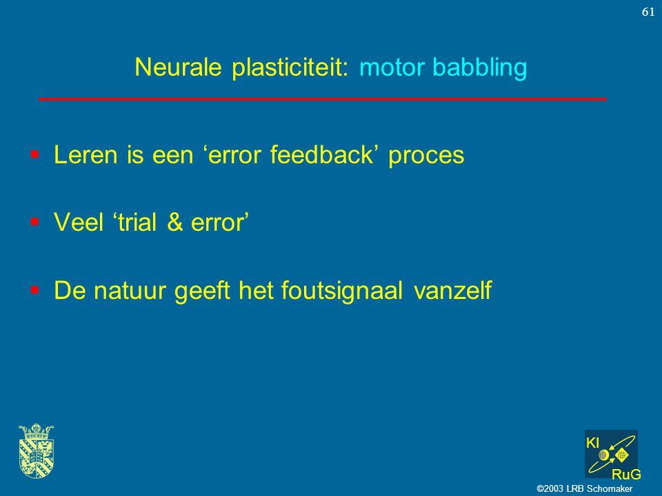 KI RuG ©2003 LRB Schomaker 61 Neurale plasticiteit: motor babbling  Leren is een 'error feedback' proces  Veel 'trial & error'  De natuur geeft het