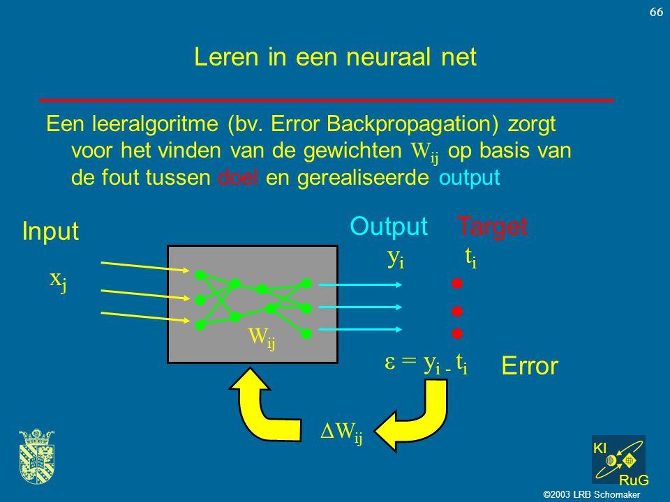 KI RuG ©2003 LRB Schomaker 66 Leren in een neuraal net Een leeralgoritme (bv. Error Backpropagation) zorgt voor het vinden van de gewichten W ij op ba