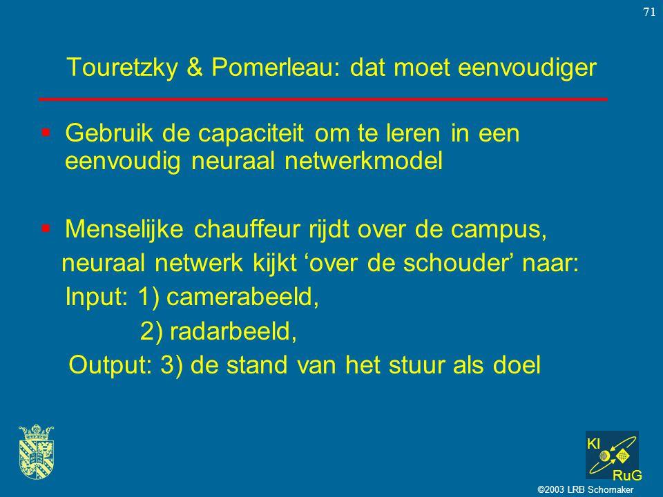 KI RuG ©2003 LRB Schomaker 71 Touretzky & Pomerleau: dat moet eenvoudiger  Gebruik de capaciteit om te leren in een eenvoudig neuraal netwerkmodel 